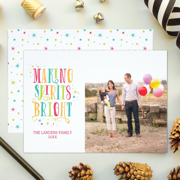 colorful holiday photo cards