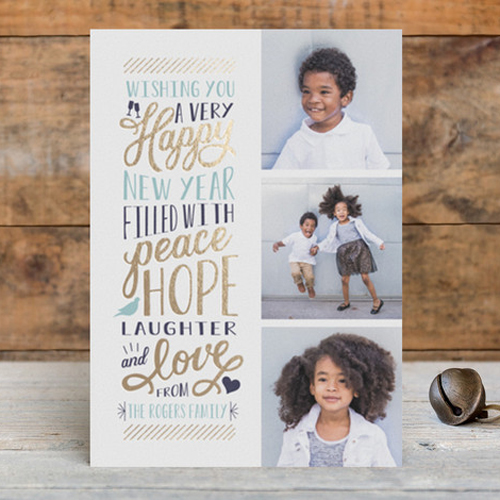 hand lettering multiphoto new year cards