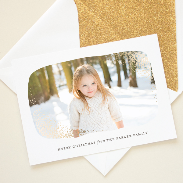 foil glitter holiday photo card