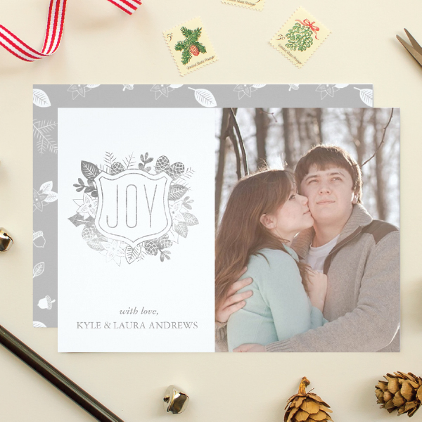 holiday card with faux silver foil