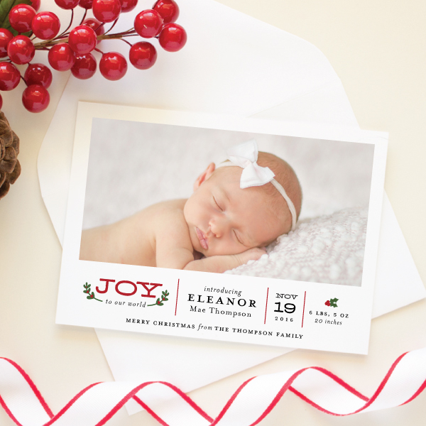 winter birth announcement card