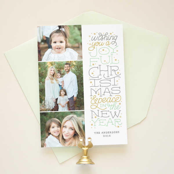 hand lettered holiday photo card