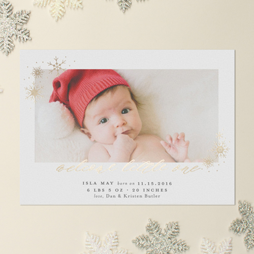gold foil snowflakes birth announcement