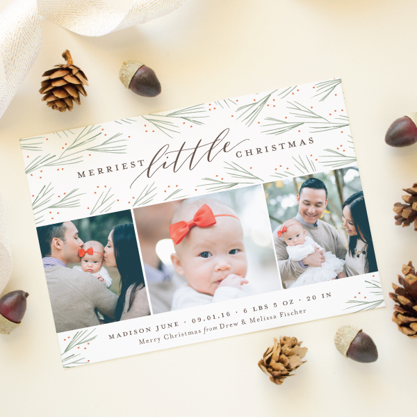 merriest little christmas new baby christmsa card