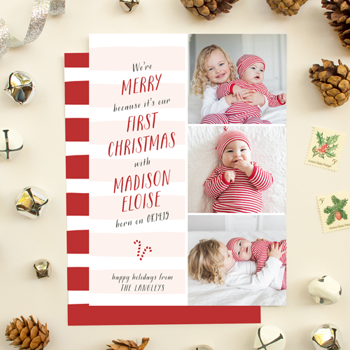 first christmas holiday photo card