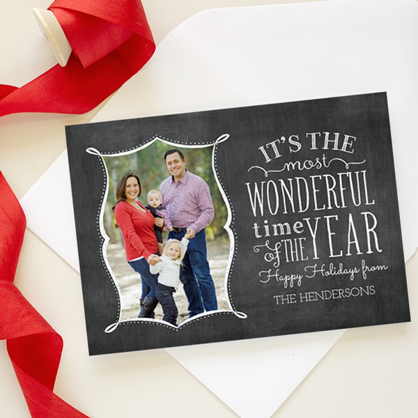 chalkboard christmas card with hand lettering