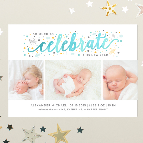 Holiday Photo Cards Banter and Charm – New Years Birth Announcement