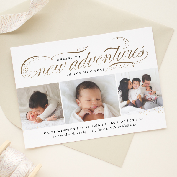 new year birth announcement card
