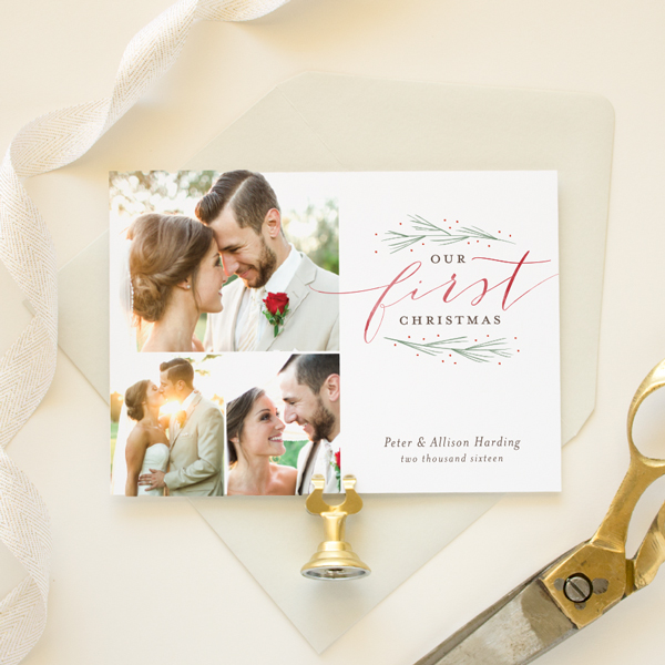 newlywed first christmas holiday card