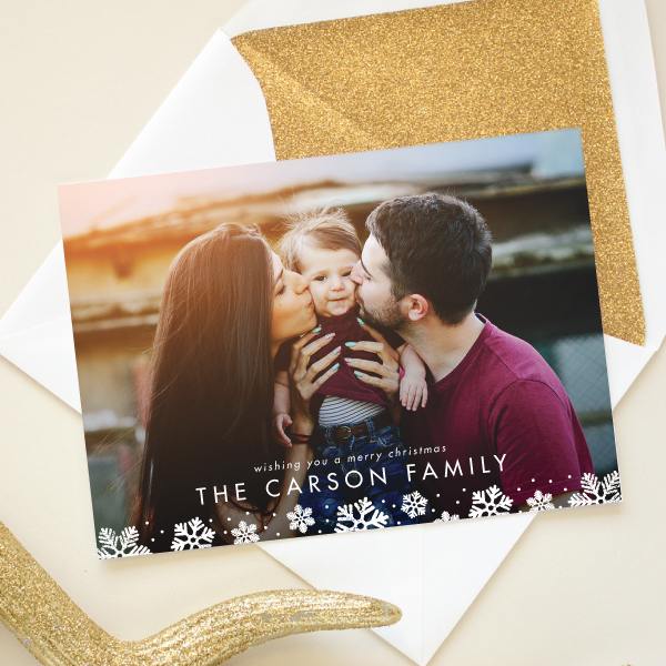 snowflake border full bleed christmas card