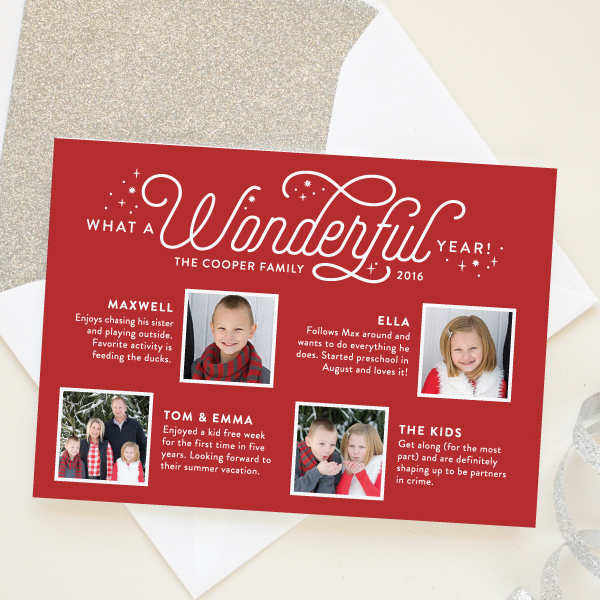 year in review christmas newsletter card