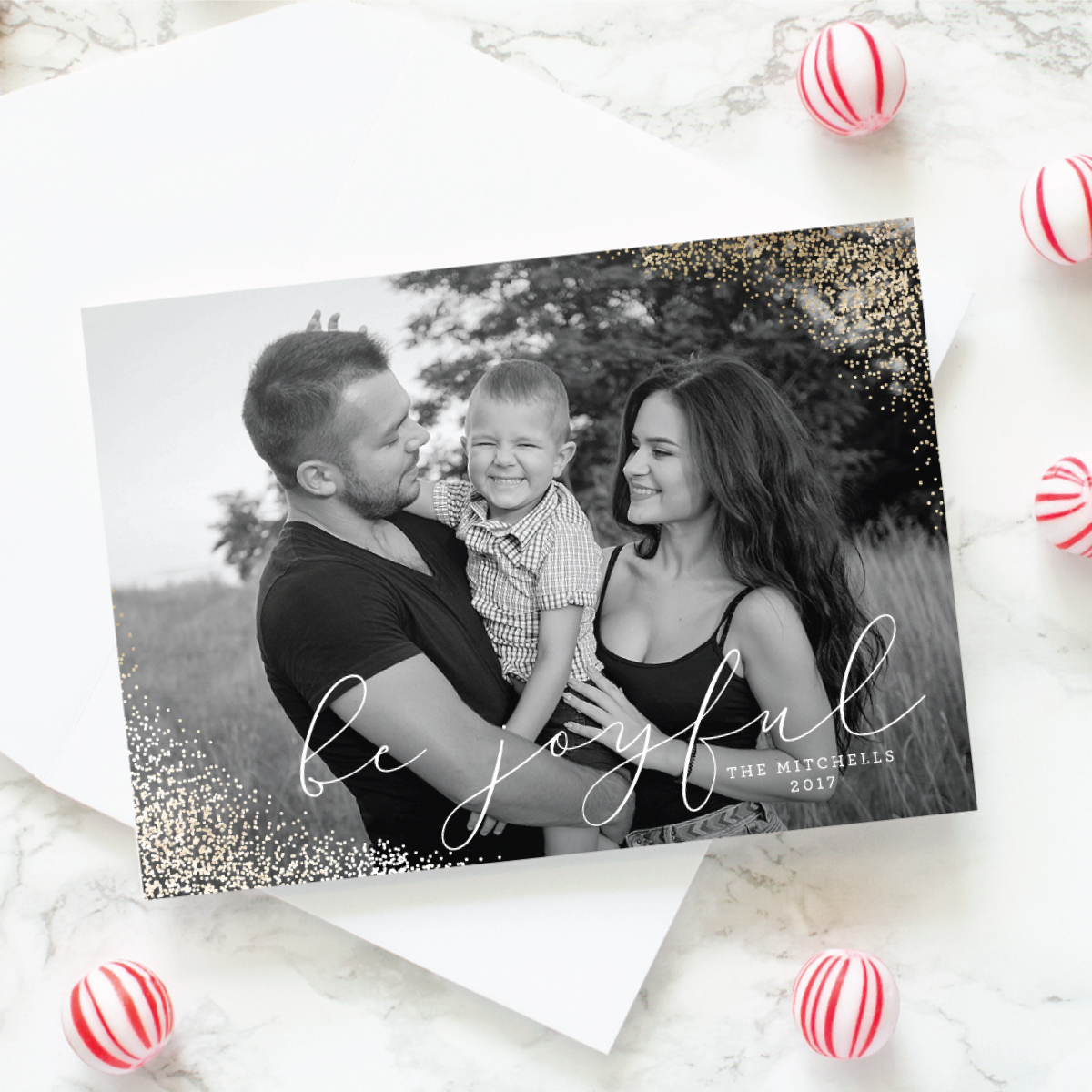gold foil christmas photo cards