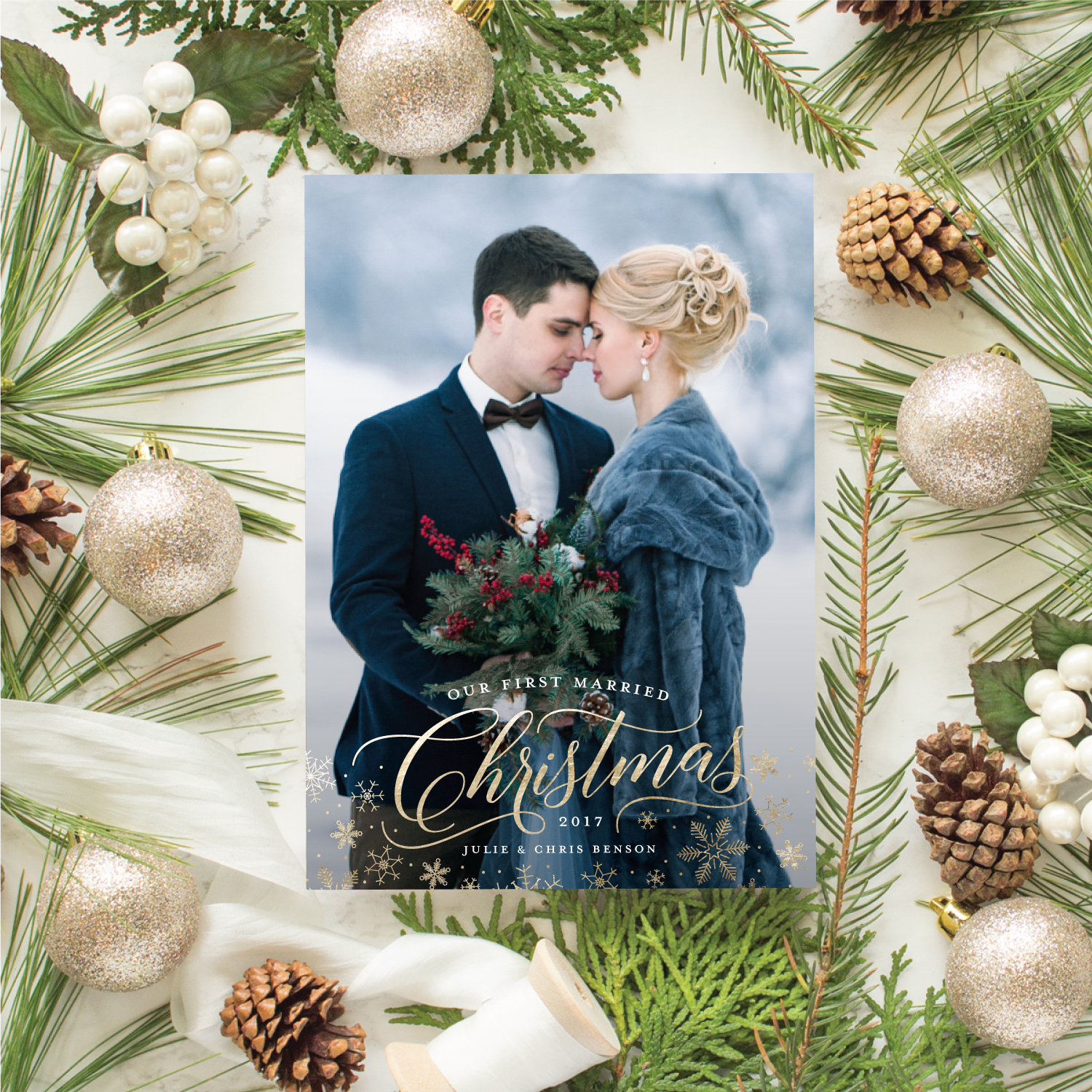 newlywed first christmas card