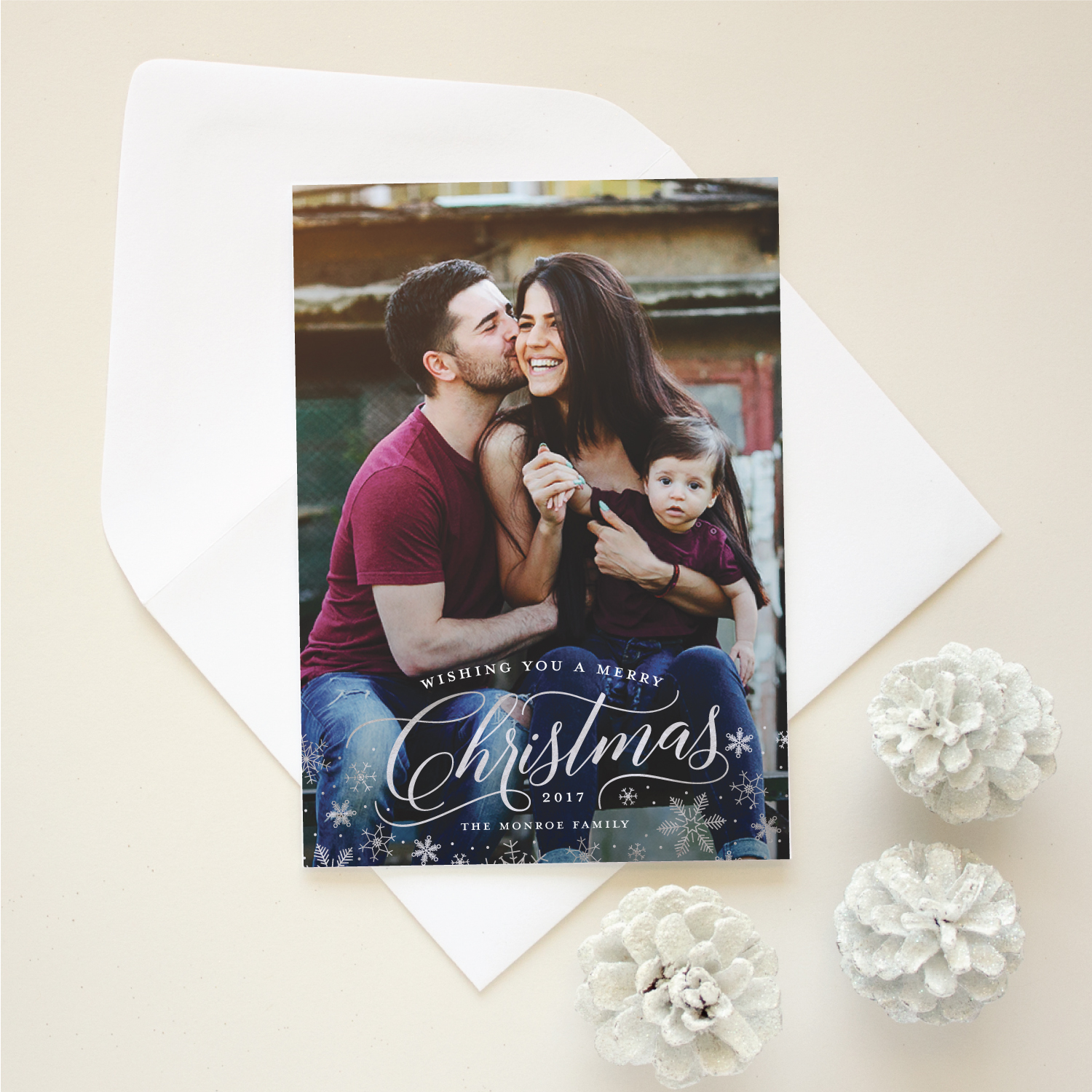 christmas card with foil stamping