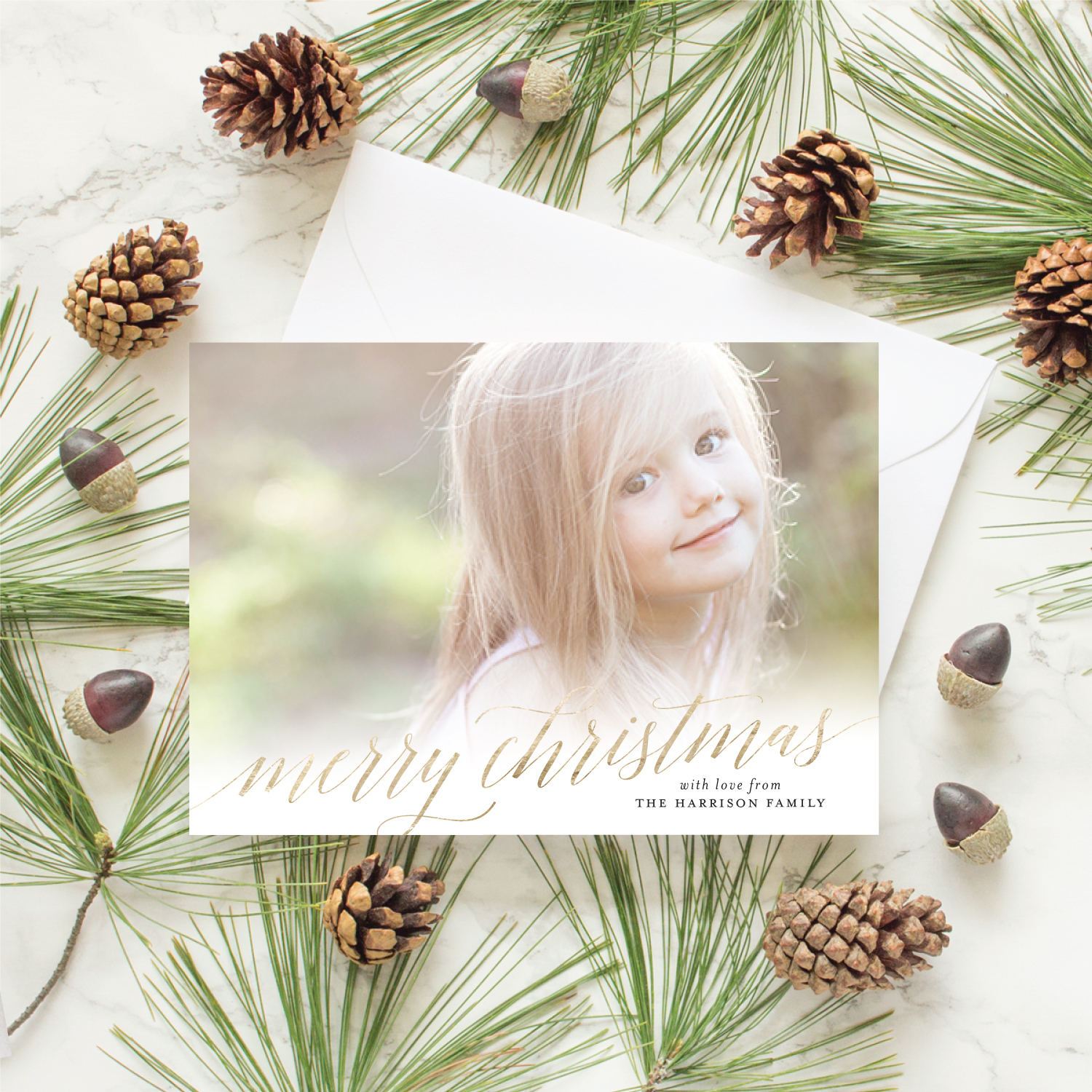 gold foil merry christmas card